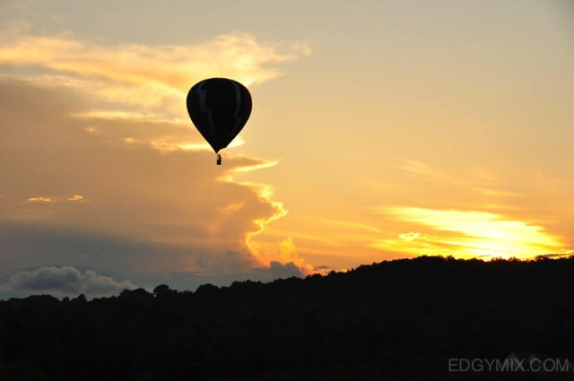 Balloon ride during sunset