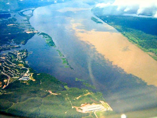 Black and white river in Amazon River brazil