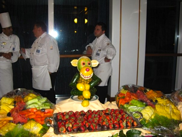 Cute monkey made with pineapple on Princess Cruise