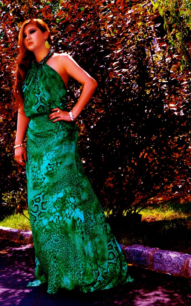 Edgymix in Green Dress