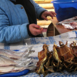 smoked fish at lake Baikal