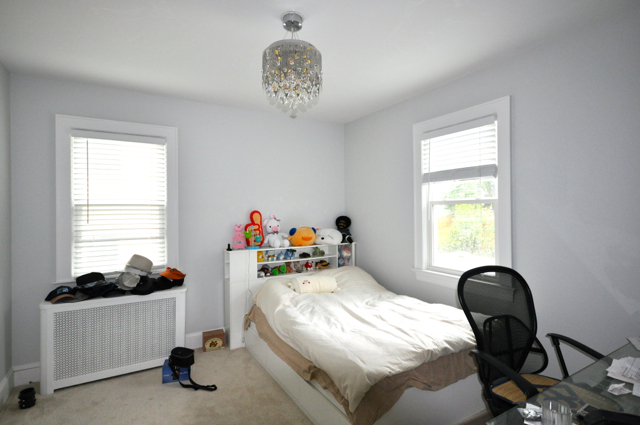 Wide angle shot of my spare bedroom