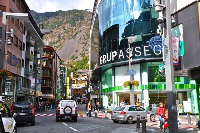 Shopping district by the mountain-andorra