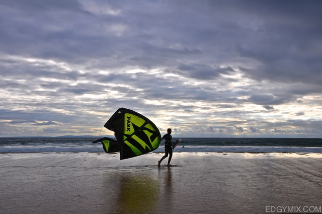 Kite-surfing at Valdevaqueros, Spain