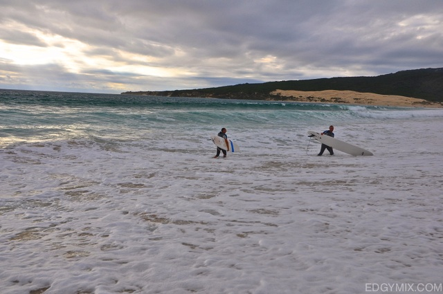 Surfers at Valdevaqueros, Spain