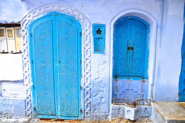 blue doors at chefchaouen morocco
