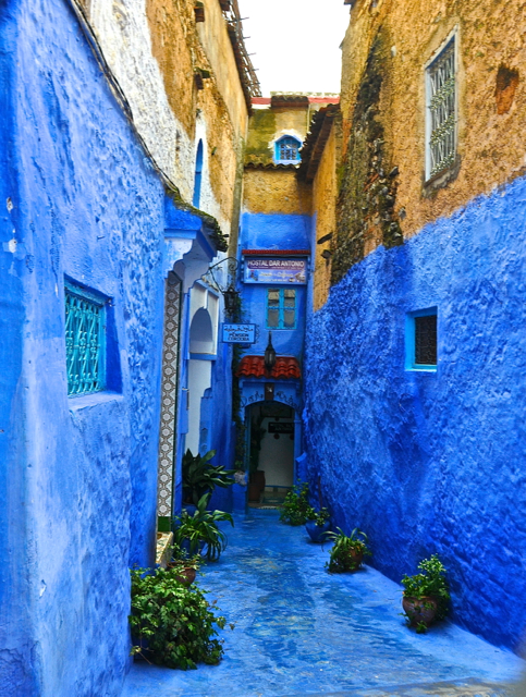 blue walls at chefchaouen morocco