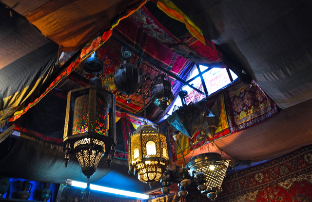 moroccan lamp at chefchaouen morocco