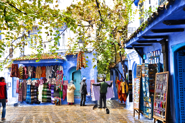 shopping time at chefchaouen morocco