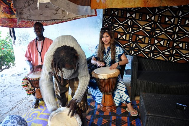 playing drum in Ngor island