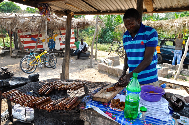 grilled meat at ghana