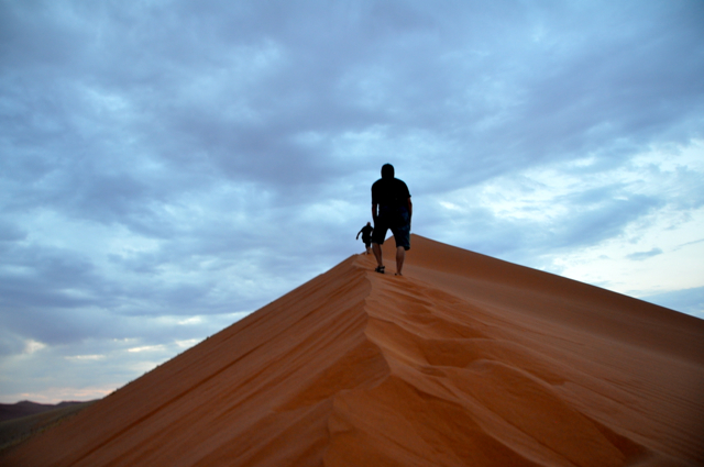 Climbing Dune 40 at Namibia