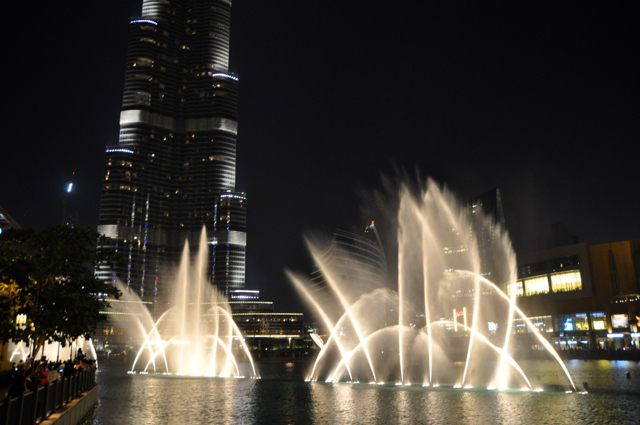 Dubai at night with fountain show