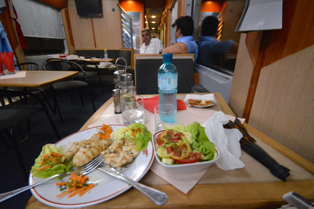 meal on train, from budapest to Romania